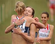 11 December 2011; Emma Pallant, Great Britain, celebrates with team-mate  Stephanie Twell, right, after winning the U23 Women's event at the 18th SPAR European Cross Country Championships 2011. Velenje, Slovenia. Picture credit: Stephen McCarthy / SPORTSFILE
