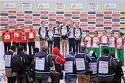11 December 2011; The victorious Great Britain team, second place Germany team and third place Portugal teams pose for photographers following the U23 Women's event at the 18th SPAR European Cross Country Championships 2011. Velenje, Slovenia. Picture credit: Stephen McCarthy / SPORTSFILE