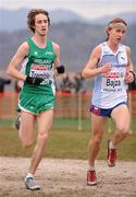 11 December 2011; Liam Tremble, Ireland, and Jakub Bajza, Czech Republic, in action during the U23 Men's event at the 18th SPAR European Cross Country Championships 2011. Velenje, Slovenia. Picture credit: Stephen McCarthy / SPORTSFILE