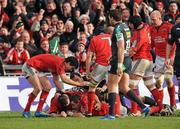 18 December 2011; Conor Murray, left, and Denis Leamy, right, celebrate after James Coughlan, supported by Damien Varley, Munster, scored his side's first try. Heineken Cup, Pool 1, Round 4, Munster v Scarlets, Thomond Park, Limerick. Picture credit: Diarmuid Greene / SPORTSFILE