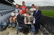 29 May 2017; Uachtarán Chumann Lúthchleas Gael Aogán Ó Fearghail and eir's Head of Sponsorship John Anslow were joined by Cillian O'Connor of Mayo, Eoin Cadogan of Cork, Jack McCarron of Monaghan, and Paddy Brophy of Kildare for eir's official launch of the 2017 GAA Football All-Ireland Senior Championship at Croke Park today. Match day clips from all games will be available on eir social media channels throughout the Championship. Photo by Cody Glenn/Sportsfile