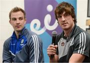 29 May 2017; Paddy Brophy of Kildare, right, and Jack McCarron of Monaghan in attendance at Croke Park for eir's official launch of the 2017 GAA Football All-Ireland Senior Championship. Match day clips from all games will be available on eir Sport social media channels throughout the Championship. Photo by Cody Glenn/Sportsfile