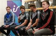 29 May 2017; Paddy Brophy of Kildare, second from left, Jack McCarron of Monaghan, left, Eoin Cadogan of Cork, third from left, and Cillian O'Connor of Mayo, in attendance at Croke Park for eir's official launch of the 2017 GAA Football All-Ireland Senior Championship. Match day clips from all games will be available on eir social media channels throughout the Championship.  Photo by Cody Glenn/Sportsfile