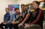29 May 2017; Eoin Cadogan, third from left, joined, from left, Jack McCarron of Monaghan, Paddy Brophy of Kildare, and Cillian O'Connor of Mayo, in attendance at Croke Park for eir's official launch of the 2017 GAA Football All-Ireland Senior Championship. Match day clips from all games will be available on eir social media channels throughout the Championship.  Photo by Cody Glenn/Sportsfile