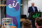 29 May 2017; Uachtarán Chumann Lúthchleas Gael Aogán Ó Fearghail in attendance at Croke Park for eir's official launch of the 2017 GAA Football All-Ireland Senior Championship. Match day clips from all games will be available on eir social media channels throughout the Championship.  Photo by Cody Glenn/Sportsfile