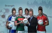 29 May 2017; John Anslow, eir Head of Sponsorship, in attendance with, from left, Jack McCarron of Monaghan, Cillian O'Connor of Mayo, Paddy Brophy of Kildare, and Eoin Cadogan of Cork at Croke Park for eir's official launch of the 2017 GAA Football All-Ireland Senior Championship. Match day clips from all games will be available on eir social media channels throughout the Championship.  Photo by Cody Glenn/Sportsfile