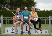 30 May 2017, Brian Gregan International Athlete at 400m, centre, Jodie McCann  of the Institute of Education Dublin who will compete in the Senior Girls 1500m, left, and Darragh Gaffney of St. Finian's Mullingar who will compete in the Senior Boys Discus, right, at the  launch of the Irish Life Health All-Ireland Schools T&F Championships at Tullamore Harrier Stadium in Tullamore, Co Offaly. Photo by Oliver McVeigh/Sportsfile