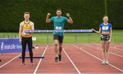 30 May 2017, Brian Gregan International Athlete at 400m, centre, Darragh Gaffney of St. Finian's Mullingar who will compete in the Senior Boys Discus, left, and Jodie McCann of the Institute of Education Dublin who will compete in the Senior Girls 1500m, right, at the  launch of the Irish Life Health All-Ireland Schools T&F Championships at Tullamore Harrier Stadium in Tullamore, Co. Offaly. Photo by Oliver McVeigh/Sportsfile