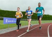30 May 2017, Brian Gregan International Athlete at 400m, right, Darragh Gaffney of St. Finian's Mullingar who will compete in the Senior Boys Discus, left, and Jodie McCann of the Institute of Education Dublin who will compete in the Senior Girls 1500m, centre, at the  launch of the Irish Life Health All-Ireland Schools T&F Championships at Tullamore Harrier Stadium in Tullamore, Co Offaly. Photo by Oliver McVeigh/Sportsfile