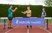 30 May 2017, Brian Gregan International Athlete at 400m, left, Darragh Gaffney  of St. Finian's Mullingar who will compete in the Senior Boys Discus,centre, and Jodie McCann of Institute of Education Dublin who will compete in the Senior Girls 1500m, right, at the launch of the Irish Life Health All-Ireland Schools T&F Championships at Tullamore Harrier Stadium in Tullamore, Co. Offaly. Photo by Oliver McVeigh/Sportsfile