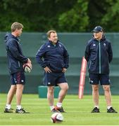 31 May 2017; Joe Schmidt head coach of Ireland with coaching staff Ronan O'Gara, left, and Richie Murphy during squad training at Carton House, Maynooth, in Co. Kildare. Photo by Matt Browne/Sportsfile
