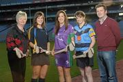 19 December 2011; At the announcement of the National Camogie Third Level Bursaries are recipients Laura Twomey, second from left, DCU and Naomh Mearnog Camogie Club, Co. Dublin, Aine Keogh, Dundalk Institute of Technology and Dunboyne Camogie Club, Co. Meath, and Eileen McElroy, second from right, University College Dublin and Castleblayney Camogie Club, Co. Monaghan, with President of the Camogie Association Joan O'Flynn, left, and Shane D'Arcy, Comhairle Comógaíochta Ard-Oideachais. Croke Park, Dublin. Picture credit: Paul Mohan / SPORTSFILE