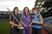 19 December 2011; At the announcement of the National Camogie Third Level Bursaries are recipients Laura Twomey, left, DCU and Naomh Mearnog Camogie Club, Co. Dublin, Aine Keogh, Dundalk Institute of Technology and Dunboyne Camogie Club, Co. Meath, and Eileen McElroy, right, University College Dublin and Castleblayney Camogie Club, Co. Monaghan. Croke Park, Dublin. Picture credit: Paul Mohan / SPORTSFILE