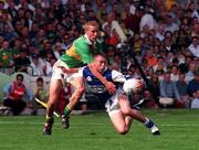 30 August 1998; Eoin Browne of Laois in action against Sean O'Sullivan of Kerry during the All-Ireland Minor Football Championship Semi-Final match between Kerry and Laois at Croke Park in Dublin. Photo by Brendan Moran/Sportsfile