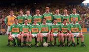 2 August 1998; The Kerry team; back row, from left, Kieran Cremin, Ciarán Fitzmaurice, Marc Ó Sé, Liam Boyle, Kenneth O'Connor, Seán O'Sullivan, Keith Moynihan and Tadhg Kennelly. Front row; Rónán Ó'Connor, Liam Keane, Ronan O'Connor, Eugene Courtney,Stephen O'Sullivan, and Kevin Lynch before the Munster Minor Football Championship Final match between Kerry and Limerick at Semple Stadium in Thurles, Tipperary. Photo by Matt Browne/Sportsfile