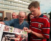 28 September 1998; Michael Donnellan signing autographs for Galway fans at the Burlington Hotel in Dublin after the Bank of Ireland All-Ireland Senior Football Championship Final match between Kildare and Galway at Croke Park in Dublin. Photo by David Maher/Sportsfile