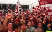27th September 1998. Galway's Niall Finnegan celebrates winning the All Ireland Final,   All Ireland Football Final, Croke Park, Dublin. Picture Credit: Dave Maher/SPORTSFILE.