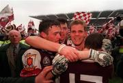27th September 1998; Niall Finnegan, second from right, and Seán Ó Domhnaill, second from left, celebrate with team-mates after the Bank of Ireland All-Ireland Senior Football Championship Final match between Kildare and Galway at Croke Park in Dublin. Photo by David Maher/Sportsfile