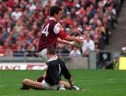 27 September 1998; Padraic Joyce of Galway rounds Kildare goalkeeper Christy Byrne to score his side's first goal during the Bank of Ireland All-Ireland Senior Football Championship Final match between Kildare and Galway at Croke Park in Dublin. Photo by David Maher/Sportsfile