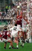 27 September 1998; Shay Walsh of Galway gathers possession ahead of team-mate Seán Ó Domhnaill, behind, and Séamus Dowling of Kildare during the Bank of Ireland All-Ireland Senior Football Championship Final match between Kildare and Galway at Croke Park in Dublin. Photo by Brendan Moran/Sportsfile