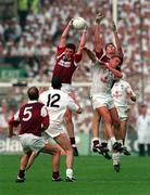 27 September 1998; Shay Walsh Galway of Galway, supported by team-mate Seán Ó Domhnaill, gathers possession ahead of Séamus Dowling of Kildare, as Dermot Earley, 12, looks on during the Bank of Ireland All-Ireland Senior Football Championship Final match between Kildare and Galway at Croke Park in Dublin. Photo by Brendan Moran/Sportsfile