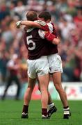 27 September 1998; Galway captain Ray Silke, 5, and Tomás Meehan embrace after the Bank of Ireland All-Ireland Senior Football Championship Final match between Kildare and Galway at Croke Park in Dublin. Photo by Matt Browne/Sportsfile