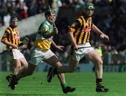 9 June 2002; Kilkenny's Henry Shefflin is tackled by Hubert Rigney, Offaly. Kilkenny v Offaly, Leinster Senior Hurling Championship Semi-finals, Semple Stadium, Thurles, Tipperary. Picture credit; Ray McManus / SPORTSFILE