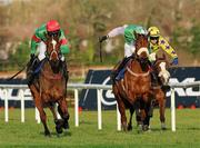 28 December 2011; Star Of Aragon, left, with Cathal Landers up, leads Cairdin, with Daniel Mullins up, towards the finish line on their way to win by a neck the Mongey Communications Novice Handicap Hurdle. Leopardstown Christmas Racing Festival 2011, Leopardstown Racecourse, Leopardstown, Dublin. Picture credit: Barry Cregg / SPORTSFILE