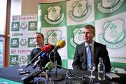 28 December 2011; Stephen Kenny, right, after he was introduced as the new manager of Shamrock Rovers FC with Chairman of Shamrock Rovers, Jonathan Roche. Tallaght Stadium, Tallaght, Dublin. Picture credit: David Maher / SPORTSFILE