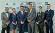 31 May 2017; In attendance , from left, are Roddy Guiney, WHPR, Sarah Keane, President Olympic Council and CEO Swim Ireland, Minister Patrick O'Donovan TD, Minister of State for Tourism and Sport, David Williams, Chairman, Federation of Irish Sport, Ciaran Gallagher, CEO, Gymnastics Ireland, and James Galvin, CEO Federation of Irish Sport, during The Federation of Irish Sport Annual Conference 2017 at the Aviva Stadium, in Lansdowne Road, Dublin. Photo by Piaras Ó Mídheach/Sportsfile