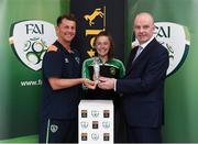 1 June 2017; Eleanor Ryan-Doyle from Peamount United is presented with her Continental Tyres Women's National League Player of the Month award for March 2017 by Republic of Ireland women's manager Colin Bell and Tom Dennigan from Continental Tyres at FAI HQ, Abbotstown, Dublin 15.  Photo by Matt Browne/Sportsfile
