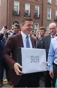 1 June 2017; Bid ambassador Brian O'Driscoll arrives to hand in the IRFU Rugby bid submission for the 2023 Rugby World Cup to Brett Gosper, CEO, World Rugby and Alan Gilpin, Head of Rugby World Cup, on June 1, 2017 in Dublin, Ireland. Photo by Sam Barnes/Sportsfile