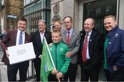 1 June 2017; In attendance at the hand in of the IRFU Rugby bid submission for the 2023 Rugby World Cup are, from left, Bid ambassador Brian O'Driscoll,  Brett Gosper, CEO, World Rugby, bid Kid Alex Place, Alan Gilpin, Head of Rugby World Cup, Ireland 2023 Oversight Board member Dick Spring, Sports Minister Shane Ross T.D., and Ireland head coach Joe Schmidt. Dublin, Ireland. Photo by Sam Barnes/Sportsfile