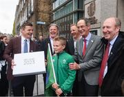 1 June 2017; In attendance at the hand in of the IRFU Rugby bid submission for the 2023 Rugby World Cup are, from left, Bid ambassador Brian O'Driscoll,  Brett Gosper, CEO, World Rugby, bid Kid Alex Place, Alan Gilpin, Head of Rugby World Cup, Ireland 2023 Oversight Board member Dick Spring, and Sports Minister Shane Ross T.D. Dublin, Ireland. Photo by Sam Barnes/Sportsfile
