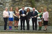 6 June 2017; Minister for Transport, Tourism and Sport, Shane Ross with Patrick O'Donovan TD, Minister of State for Tourism and Sport who were joined by from left Camogie Association CEO, Joan O'Flynn, Sinead McNulty from DIT, Ladies Gaelic Football Players Ellen McCarron from Monaghan and Niamh Lister from Meath and Camogie players Edwina Keane from Kilkenny and Ali Twomey from Dublin and LGFA President, Marie Hickey, were all present to announce funding to the value of €428,000 which will be provided to adult intercounty Camogie and Ladies Gaelic Football teams in the coming weeks. €500,000 worth of funding will be provided in 2017 and again in 2018. The funding, which will be distributed through Sport Ireland, was agreed following a joint proposal by the Camogie Association, the LGFA and the WGPA . Wilson Hartnell, Ely Place, Dublin. Photo by Matt Browne/Sportsfile