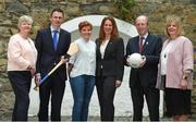 6 June 2017; Minister for Transport, Tourism and Sport, Shane Ross with Patrick O'Donovan TD, Minister of State for Tourism and Sport who were joined by from left Camogie Association CEO, Joan O'Flynn, WGPA President, Aoife Lane, Sinead McNulty from DIT and LGFA President, Marie Hickey, were all present to announce funding to the value of €428,000 which will be provided to adult intercounty Camogie and Ladies Gaelic Football teams in the coming weeks. €500,000 worth of funding will be provided in 2017 and again in 2018. The funding, which will be distributed through Sport Ireland, was agreed following a joint proposal by the Camogie Association, the LGFA and the WGPA . Wilson Hartnell, Ely Place, Dublin. Photo by Matt Browne/Sportsfile