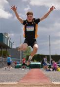 3 June 2017; Lucas Moylan of Newbridge, Co Kildare, competing in the Intermediate Boy's Long Jump during the Irish Life Health All Ireland Schools Track & Field Championships 2017 at Tullamore Harrier Stadium, in Co. Offaly. Photo by Sam Barnes/Sportsfile