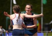 3 June 2017; Ciara Neville of Castletroy College, Co Limerick, embraces Aoife Rochford of CB Enniscorthy, Co Wexford, after winning the Senior Girl's 100m during the Irish Life Health All Ireland Schools Track & Field Championships 2017 at Tullamore Harrier Stadium, in Co. Offaly. Photo by Sam Barnes/Sportsfile