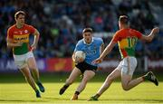 3 June 2017; Diarmuid Connolly of Dublin in action against Brendan Murphy, left, and Eoghan Ruth of Carlow during the Leinster GAA Football Senior Championship Quarter-Final match between Dublin and Carlow at O'Moore Park, Portlaoise, in Co. Laois. Photo by Daire Brennan/Sportsfile