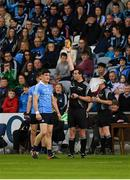 3 June 2017; Diarmuid Connolly of Dublin is shown a yellow card by referee Sean Hurson during the Leinster GAA Football Senior Championship Quarter-Final match between Dublin and Carlow at O'Moore Park, Portlaoise, in Co. Laois.  Photo by Ray McManus/Sportsfile