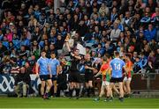 3 June 2017; Diarmuid Connolly of Dublin, left, is shown a yellow card by referee Sean Hurson during the Leinster GAA Football Senior Championship Quarter-Final match between Dublin and Carlow at O'Moore Park, Portlaoise, in Co. Laois.  Photo by Ray McManus/Sportsfile