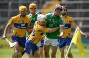 4 June 2017; Lorcan Lyons of Limerick in action against Shane McGrath of Clare during the Munster GAA Hurling U25 Championship Semi-Final match between Limerick and Clare at Semple Stadium, in Thurles, Co. Tipperary. Photo by Diarmuid Greene/Sportsfile