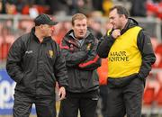 8 January 2012; Down manager James McCartan, centre, along with Jerome Johnston, selector, left, and Aidan O'Rourke, assistant manager. Dr. McKenna Cup, Section B, Down v Armagh, Pairc Esler, Newry, Co. Down. Picture credit: Oliver McVeigh / SPORTSFILE