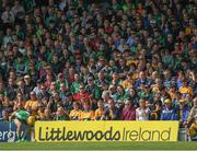 4 June 2017; A section of the 19,168 attendance look on as Paul Browne of Limerick places the sliothar for a line ball the Munster GAA Hurling Senior Championship Semi-Final match between Limerick and Clare at Semple Stadium, in Thurles, Co. Tipperary. Photo by Ray McManus/Sportsfile