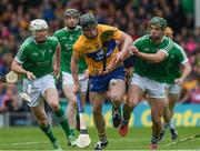 4 June 2017; Tony Kelly of Clare in action against Seamus Hickey, 7, and Sean Finn of Limerick during the Munster GAA Hurling Senior Championship Semi-Final match between Limerick and Clare at Semple Stadium, in Thurles, Co. Tipperary. Photo by Ray McManus/Sportsfile