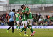 4 May 2017; Cyrus Christie of Republic of Ireland, right, celebrates with Wes Hoolahan after scoring his sides second goal during the international friendly match between Republic of Ireland and Uruguay at the Aviva Stadium in Dublin. Photo by David Maher/Sportsfile