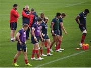 5 June 2017; British and Irish Lions head coach Warren Gatland with defence coach Andy Farrell, left, and attack coach Rob Howley, right, during a training session at the QBE Stadium in Auckland, New Zealand. Photo by Stephen McCarthy/Sportsfile