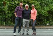 5 June 2017; VHI support team members David Gillick and Amanda Byram, right, with John O'Dwyer, Chief Executive, VHI Healthcare, ahead of the Vhi Women's Mini Marathon 2017. Nearly 33,000 participants took to the streets of Dublin to run, walk and jog the 10km route, raising much needed funds for hundreds of charities around the country. For further information please log on to www.vhiwomensminimarathon.ie  Photo by Sam Barnes/Sportsfile