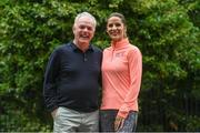 5 June 2017; VHI support team members Amanda Byram with John O'Dwyer, Chief Executive, VHI Healthcare, ahead of the Vhi Women's Mini Marathon 2017. Nearly 33,000 participants took to the streets of Dublin to run, walk and jog the 10km route, raising much needed funds for hundreds of charities around the country. For further information please log on to www.vhiwomensminimarathon.ie  Photo by Sam Barnes/Sportsfile
