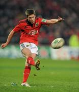 14 January 2012; Ronan O'Gara, Munster, kicks a penalty against Castres Olympique. Heineken Cup, Pool 1, Round 5, Munster v Castres Olympique, Thomond Park, Limerick. Picture credit: Matt Browne / SPORTSFILE - read more